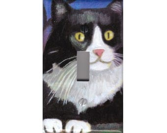 Cat light switch cover Black and white Tuxedo painting Art