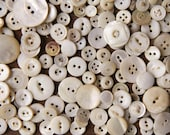 Weathered Whites - Lot of over 100 Shabby Vintage Shell Buttons