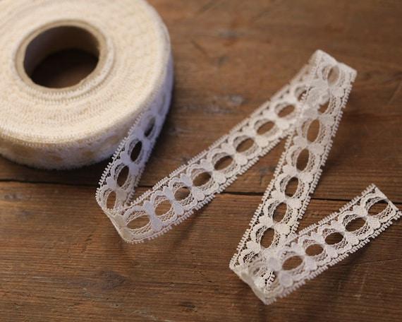 Ivory Lace Picot Ribbon, 3/4 Inch Width - 10 Yard Roll, Entire Spool of Craft Trim