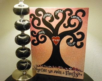 "Family Tree Handpainted on Gallery Wrapped Canvas Together We Make a Family 16"" X 20"" Canvas"