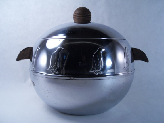 Vintage Penguin Ice Bucket Bun Warmer 50s