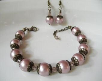 Swarovski Powder Rose Pink Pearl Bracelet and Earring Set - Vintage Flair - Antique Style Pink and Brown - Rustic Bridal Wedding Jewelry Set