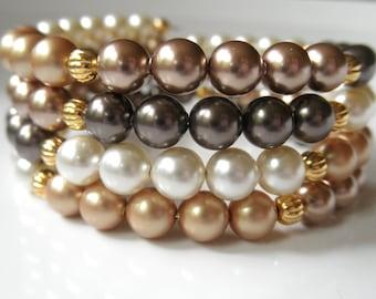 Swarovski Pearl Memory Wire Bracelet - Bronze Gold Cream Brown Coil Bracelet - Multicolor Wrap Around Bracelet, Fall Wedding Autumn Bracelet