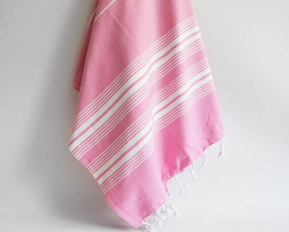 Turkish BATH Towel - Classic Peshtemal - Pink No:2 (white striped)