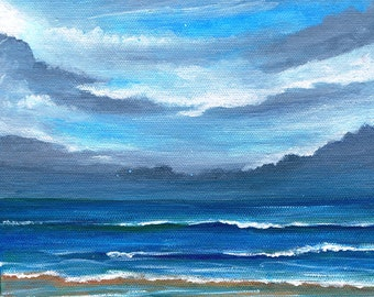Here Comes the Rain -  Original Acrylic Painting on Canvas 8 X 8 Seascape Beach Ocean Florida