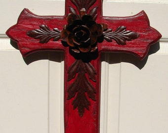 DC035B Large Red Wood Cross with Rustic Rose and Leaves
