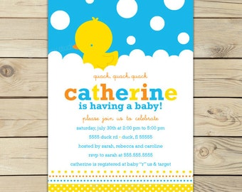 Rubber Ducky Baby Shower Invitations Printable - Yellow and Blue Boy Baby Shower Invitation - Rubber Ducky Baby Shower Invitation