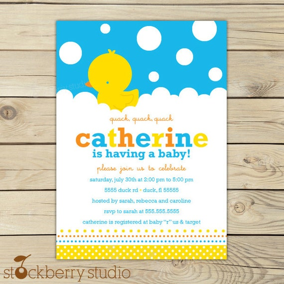 rubber ducky baby shower invitations printable  yellow blue boy, Baby shower