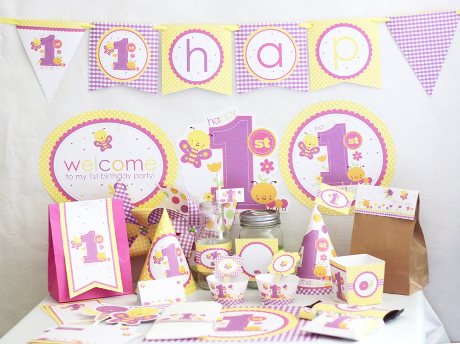 Butterfly 1st birthday decorations printable butterfly for Baby girl first birthday party decoration ideas