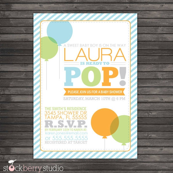 ready to pop baby shower invitation printable about to pop