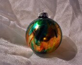 Unique Hand Painted Glass Ornament Green Orange Gold (#3)