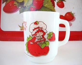 Vintage Mug Strawberry Shortcake Milk Glass