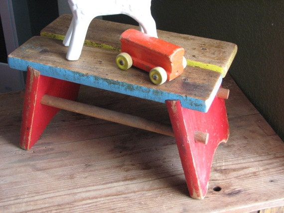 Vintage Wooden Foot Stool - Childs Colorful Footstool - Kids Bathroom Sink Bench - Chippy Rustic