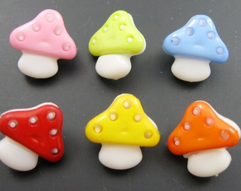 Mushroom Buttons Multicolored Set of Six