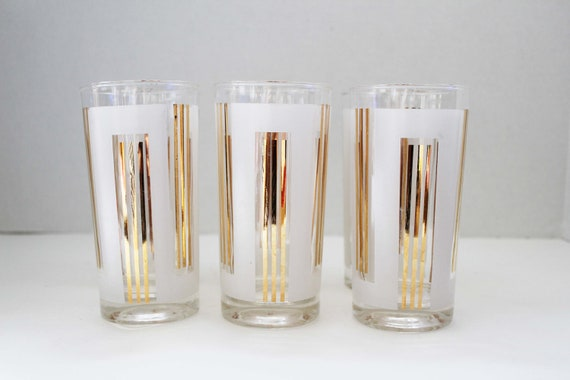 Frosted White and Gold Striped Hollywood Regency Glasses