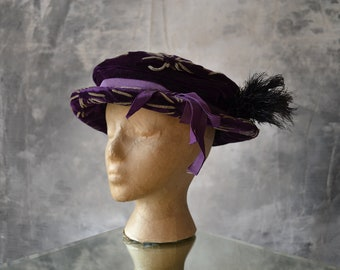 Edwardian Purple Velvet Hat