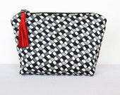 Cosmetic bag, make up bag, fabric pouch, black and white