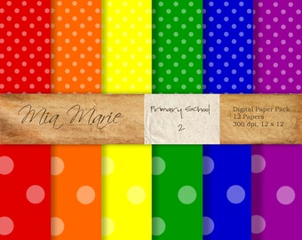 INSTANT DOWNLOAD - Digital Papers Scrapbooking Backgrounds Bright Primary Colors, Polka Dots Printable 12x12 jpg