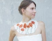 Orange poppy field necklace felted wool bib collar, neck piece, rustic abstract bridesmaid weddings gift idea fall fashion