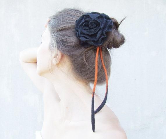 4in1 Head Jewelry, Felted Wool Accessory, Head Piece, Flower Belt, Bridal Headpiece, Black Wedding Headpiece, Goth Jewelry, Art Jewelry
