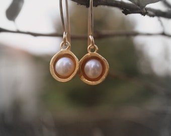 Gold pearl dangles 18K gold plated dangle earrings with white pearl