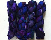Recycled sari silk ribbon. Art yarn. Purple Pout. Craft ribbon. Unique inspirational ethically produced yarn.