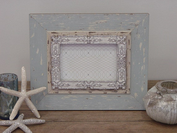 Blue Distressed Wood Picture Frame with Deco-Inspired Inset - 5x7