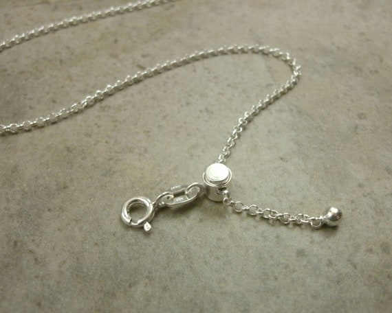 Sterling Silver Chain-  22inch 55.88cm Long- Fully Adjustable Necklace- Rolo Link Chain- Spring Ring Clasp- Sterling Silver Adjustable Chain