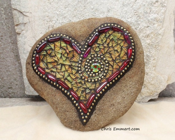 Pink and Yellows Mosaic Heart /Garden Stone
