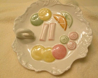 Ceramic Candy Dish 1960 made by N.S. Gustin Co. made in the USA  EVC