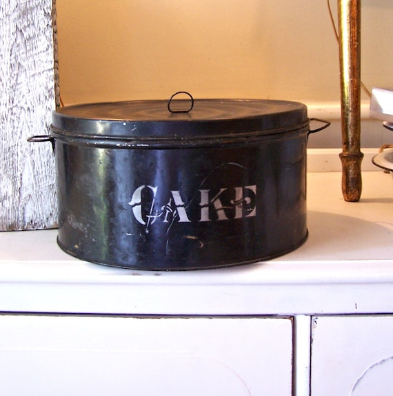 Vintage Industrial Black Metal Cake Tin Carrier with Lid / Handles and Top Handle
