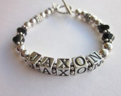 """Adult Pewter & Onxy Mommy Bracelet  - """"Stylish and Chic"""" and looks great STACKED"""