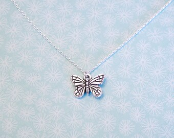 Butterfly Charm Necklace - Butterfly Pendant Necklace - Made in USA