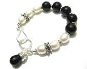 Onyx Pearl Bracelet Sterling Silver Classic Black and White Bracelet