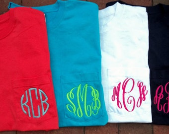 Personalized SHORT SLEEVE Monogrammed Pocket Tshirt Tee T Shirt Initials Lime Green, White, Coral, Navy, etc