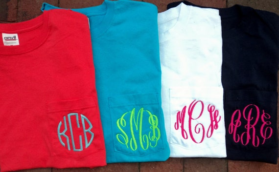 Personalized Monogrammed Pocket Tshirt Tee T Shirt Initials Lime Green, White, Coral, Navy, etc