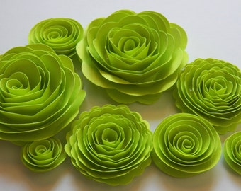 Lime Green Handmade Rose Spiral Paper Flowers Use on Halloween Projects, Decor, Crafts