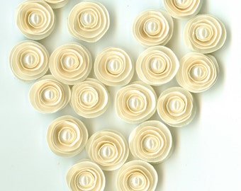 Mini Pearl Sand Ivory Rose Spiral Paper Flowers for Weddings, Bouquets, Events and Crafts