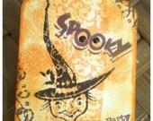 FIVE Halloween Witch Hand Inked Stamped Victorian Vintage Retro Orange Black Purple Seasonal OOAK Gift Tags