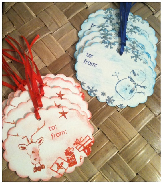 TWELVE Hand Inked Stamped Holiday To From Snowman Rudolph Reindeer Presents Snowflakes Red Blue Handmade Original Gift Tags