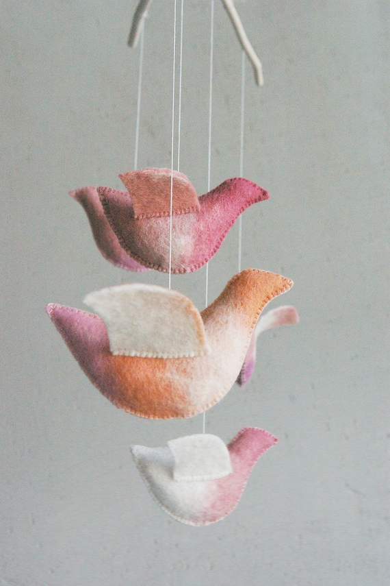 Baby crib mobile - nursery mobile - Birds mobile - UNDER the LOVE TREE - baby gift - pure eco - made to order
