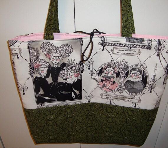 Alexander Henry Ghastlies white / green / black tote bag with pink lining