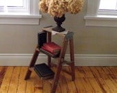 Step Ladder Vintage Wood Stool Farmhouse Cottage Chic Industrial End Table Bookshelf