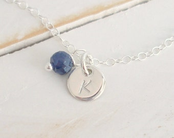 Blue Sapphire Gem Necklace,Tiny Silver Disc necklace, Handmade, Hand stamped, You choose font and initial, September Birthstone Necklace