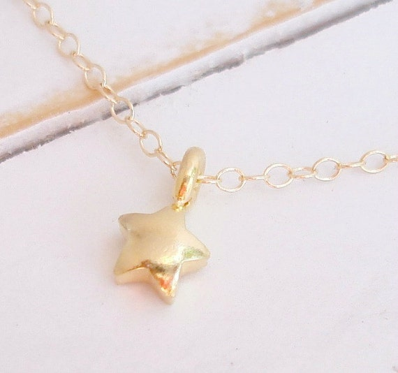 Tiny Gold Star Necklace - 24k Gold Vermeil Puffed Star Charm, Gold Filled Necklace,Gold dipped Sterling Silver Star Charm, Dogeared Style