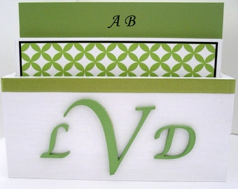 Guest Book Box Set - Lime Green, White & Black, Monogram Style, Custom Colors Available