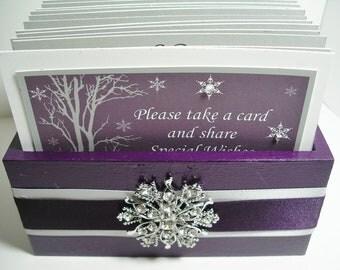 GUEST Book Box Set w/Snowflake Rhinestone Brooch, Winter Wedding Guest Box, Advice Box - Purple, Gray & White
