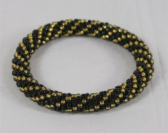 Gold and Black Spiral Seed Bead Bangle - Ready to Ship