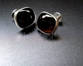 Sterling Silver Obsidian double-ended push through Cufflinks - Gemstone accessories by Lamazonian