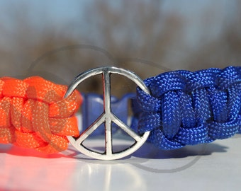 Thunder OKC Oklahoma City Tibetan Silver Peace Sign 550 Paracord Survival Strap Bracelet Anklet with Buckle
